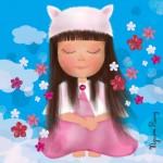 Zen attitude poupée fleurs ange bonnet illustration