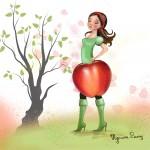 Illustration poupée pomme